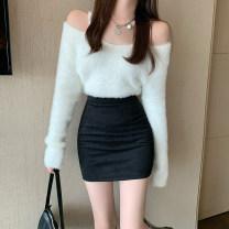 skirt Autumn 2020 S,M,L Black, beige Short skirt commute High waist Type A 18-24 years old Korean version