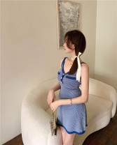 Dress Summer 2021 blue Average size Short skirt singleton  Sleeveless commute other High waist A-line skirt other camisole 18-24 years old Type A Other / other knitting other