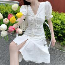 Dress Summer 2020 White dress S, M longuette commute High waist Type A Korean version 31% (inclusive) - 50% (inclusive) cotton