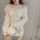 Dress Spring 2021 Apricot lace skirt 7520 S, M Middle-skirt singleton  Long sleeves commute V-neck High waist Solid color Socket routine Others 18-24 years old Type A Korean version printing 31% (inclusive) - 50% (inclusive) Lace cotton