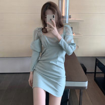 Dress Autumn 2020 Picture color Average size Short skirt singleton  Long sleeves commute square neck puff sleeve Others Type A Korean version 30% and below other other