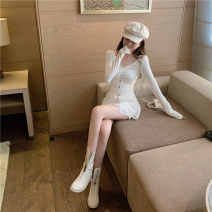 Dress Spring 2021 Apricot, white Average size Short skirt Two piece set Long sleeves Crew neck routine Type A 30% and below other other