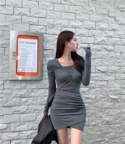 Dress Winter 2020 Gray, black Average size Short skirt singleton  Long sleeves commute square neck Socket routine Others Korean version 30% and below other other