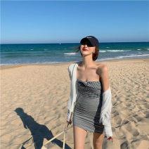 Fashion suit Summer 2021 S. M, average size Check bra, skirt, white cardigan