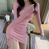 Dress Spring 2021 Pink, black Average size Middle-skirt singleton  Long sleeves commute Crew neck Solid color Socket routine Others Type A