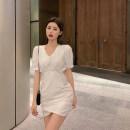 Dress Summer 2020 White, black S, M Short sleeve commute High waist A-line skirt 18-24 years old Korean version