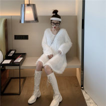 Dress Autumn of 2019 black Average size Middle-skirt singleton  Long sleeves commute V-neck Loose waist Solid color Socket Big swing routine Type H Other / other Korean version Three dimensional decoration