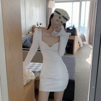 Dress Spring 2021 white Average size Short skirt singleton  Long sleeves V-neck Socket pagoda sleeve 30% and below other other