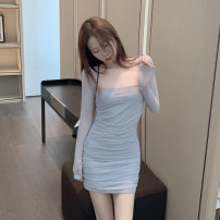 Dress Autumn 2020 Picture color Average size Short skirt singleton  Long sleeves commute square neck High waist Solid color routine Others Korean version fold 30% and below other other