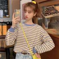 T-shirt Yellow and blue stripes [high quality anti pilling], orange and coffee stripes [high quality anti pilling], apricot and blue stripes [high quality anti pilling] S,M,L,XL,2XL Summer 2020 Long sleeves Crew neck easy have cash less than that is registered in the accounts routine commute cotton