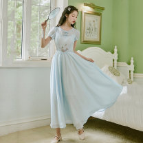 Dress Summer 2021 Light blue S,M,L,XL longuette singleton  Short sleeve commute Crew neck middle-waisted Solid color zipper Big swing routine Others Type A literature Embroidery 30% and below Chiffon polyester fiber