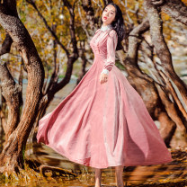Dress Autumn of 2018 Lotus root Pink S,M,L,XL longuette singleton  Long sleeves Sweet stand collar middle-waisted Solid color zipper Big swing other Others Type A Splicing 30% and below other polyester fiber Mori