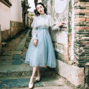 Dress Autumn of 2018 White and blue S,M,L,XL Mid length dress singleton  Long sleeves commute stand collar middle-waisted Solid color zipper Big swing other Breast wrapping Type A literature Splicing 30% and below other polyester fiber