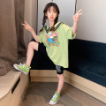 suit Rabbit treasure warm Green Korean print T + shorts, pink Korean print T + shorts 120cm,130cm,140cm,150cm,160cm,170cm female summer Korean version Short sleeve + pants 2 pieces Thin money There are models in the real shooting Socket nothing Cartoon animation cotton children Expression of love