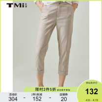 Casual pants Beige S M L XL Summer 2020 Ninth pants Overalls Natural waist original routine 25-29 years old 51% (inclusive) - 70% (inclusive) TMi pocket Polyester 69% viscose 29% polyurethane elastic 2% Same model in shopping mall (sold online and offline)