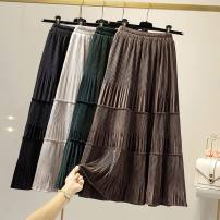skirt Autumn of 2019 One size fits all (elastic waist) Black, green, apricot, grey, coffee Mid length dress commute High waist A-line skirt Solid color Type A 18-24 years old 51% (inclusive) - 70% (inclusive) Splicing