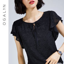 Lace / Chiffon Summer 2021 black M L XL 2XL Sleeveless commute Socket singleton  Straight cylinder Regular Crew neck Solid color Lotus leaf sleeve 30-34 years old Aubergine D52198 Lace up with ruffles Simplicity 96% and above Polyester 100% Pure e-commerce (online only)