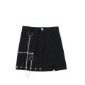 skirt Summer 2020 S,M,L black Short skirt commute High waist A-line skirt Solid color Type A 18-24 years old JIN060905 Chain, pocket, button, zipper Retro