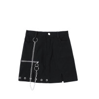 skirt Summer 2020 S,M,L black Short skirt commute High waist A-line skirt Solid color Type A 18-24 years old JIN060905 Chain, pocket, button, zipper Retro