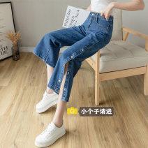 Jeans Spring 2021 XS,S,M,L,XL,2XL Ninth pants High waist Straight pants routine 18-24 years old Button Cotton denim light colour J212 Jie Huiting 91% (inclusive) - 95% (inclusive)
