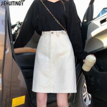 skirt Summer 2021 XS,S,M,L,XL Blue, black, apricot Middle-skirt Versatile High waist Denim skirt Solid color Type A 18-24 years old J606 Jie Huiting Button, zipper