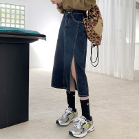 skirt Spring 2021 XS,S,M,L,XL Apricot, bluish grey Mid length dress Versatile High waist skirt Solid color Type A 18-24 years old J1540 51% (inclusive) - 70% (inclusive) Denim Jie Huiting Pocket, button, zipper