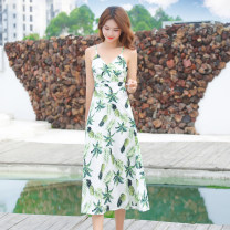 Dress Summer 2020 Mid length dress singleton  Sleeveless commute V-neck High waist Decor Socket A-line skirt other camisole 25-29 years old Type A Other / other Korean version 71% (inclusive) - 80% (inclusive) other cotton