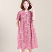 Women's large Summer of 2019 Red, black M,2XL,3XL,4XL,L,XL Dress singleton  commute easy moderate Socket Short sleeve lattice Korean version V-neck cotton Three dimensional cutting routine Other / other 30-34 years old 31% (inclusive) - 50% (inclusive) Medium length