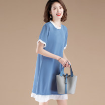 Women's large Summer 2020 Black, blue, pink M,2XL,3XL,4XL,L,XL Dress singleton  commute easy moderate Socket Short sleeve Korean version Crew neck Medium length other Three dimensional cutting routine DS5021D18A Other / other 81% (inclusive) - 90% (inclusive)