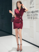 Dress Summer 2020 claret S,M,L Short skirt singleton  Short sleeve commute tailored collar High waist Solid color Single breasted One pace skirt routine Others 25-29 years old Type O Button LB4582 More than 95% other polyester fiber