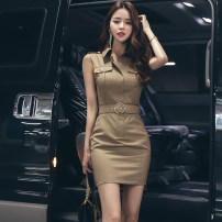 Dress Summer of 2019 khaki 155/S,160/M,165/L Short skirt singleton  Sleeveless commute stand collar High waist Solid color zipper One pace skirt other Others 25-29 years old Type O Korean version Pocket, lace up, zipper LB2396 51% (inclusive) - 70% (inclusive) nylon