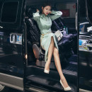 Dress Autumn of 2019 pink green 155/S,160/M,165/L Mid length dress singleton  Long sleeves commute Polo collar High waist Solid color Three buttons One pace skirt puff sleeve Others 25-29 years old T-type Pleats, chains, buttons, zippers LB3335 More than 95% polyester fiber