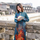 Dress Spring 2021 Picture color M,L,XL Mid length dress singleton  Long sleeves commute Crew neck Loose waist Solid color Socket Irregular skirt raglan sleeve Others 30-34 years old Type H Chaos in the south of the Yangtze River ethnic style printing 71% (inclusive) - 80% (inclusive) other