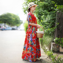 Dress Summer 2021 gules Average size longuette singleton  Short sleeve commute square neck Decor Socket Big swing Sleeve Others 35-39 years old Type A Chaos in the south of the Yangtze River ethnic style Pocket, print 51% (inclusive) - 70% (inclusive) other cotton