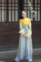 Hanfu 96% and above Summer 2020 Laurel yellow single shirt (in stock), forsythia yellow embroidered back (in stock), mint green printed cross Yu skirt (in stock), grass green embroidered back (in stock) Xs, s, m, l, average size polyester fiber