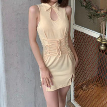 Dress Summer 2021 Apricot S,M,L Short skirt singleton  Sleeveless street Polo collar High waist Solid color Socket One pace skirt Others 18-24 years old Type H sisterlinda Hollow out, bandage K20D10992 91% (inclusive) - 95% (inclusive) other other