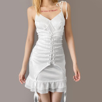 Dress Summer 2021 white S,M,L Short skirt singleton  Sleeveless street V-neck High waist Solid color Socket Irregular skirt camisole 18-24 years old Type H sisterlinda Open back, lace up, bandage K20D11063 91% (inclusive) - 95% (inclusive) Silk and satin polyester fiber Europe and America