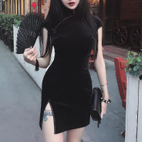 Dress Summer 2020 Black, pink, red S,M,L Short skirt singleton  Short sleeve commute other High waist Solid color Three buttons One pace skirt routine Others 18-24 years old Type H Retro Stereo decoration, button 91% (inclusive) - 95% (inclusive) Flannel polyester fiber