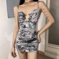 Dress Summer 2021 grey S,M,L Short skirt singleton  Sleeveless street V-neck High waist Broken flowers other A-line skirt camisole 18-24 years old Type H sisterlinda Hollow out, open back, bandage K21D00008 91% (inclusive) - 95% (inclusive) other polyester fiber