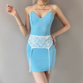 Dress Summer 2021 blue S,M,L Short skirt singleton  street V-neck High waist Solid color other One pace skirt camisole 18-24 years old Type H sisterlinda Stitching, lace K20D11257 91% (inclusive) - 95% (inclusive) polyester fiber