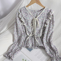 Lace / Chiffon Spring 2021 Light purple, dark purple, orange, black, pink Average size Long sleeves Versatile Socket singleton  Self cultivation have cash less than that is registered in the accounts Crew neck Decor puff sleeve 18-24 years old Bow tie 81% (inclusive) - 90% (inclusive)