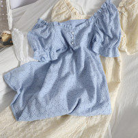 Dress Spring 2021 Apricot, white, blue M, L longuette singleton  Short sleeve commute square neck High waist Solid color Single breasted A-line skirt puff sleeve 18-24 years old Type A Korean version 81% (inclusive) - 90% (inclusive)