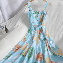Dress Spring 2021 White, black, blue, green, pink M, L longuette singleton  Sleeveless commute One word collar High waist Broken flowers zipper A-line skirt other camisole 18-24 years old Type A Korean version backless , Bandage , Button 71% (inclusive) - 80% (inclusive)