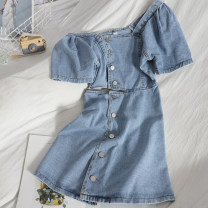 Dress Spring 2021 Denim blue M, L Mid length dress singleton  Short sleeve commute square neck High waist Solid color Single breasted A-line skirt puff sleeve 18-24 years old Type A Korean version Button 81% (inclusive) - 90% (inclusive) Denim