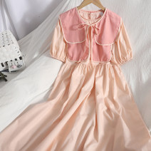 Dress Spring 2021 White, yellow, blue, pink Average size longuette Two piece set Short sleeve commute Crew neck High waist Solid color A button A-line skirt puff sleeve 18-24 years old Type A Korean version Bow tie 81% (inclusive) - 90% (inclusive)
