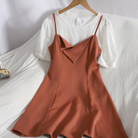 Dress Spring 2021 Black, orange M, L Mid length dress Two piece set Sleeveless commute V-neck High waist Solid color zipper A-line skirt other camisole 18-24 years old Type A Korean version 71% (inclusive) - 80% (inclusive)