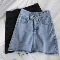 skirt Spring 2021 S,M,L,XL Black, blue Short skirt Versatile High waist A-line skirt Solid color Type A 81% (inclusive) - 90% (inclusive) Denim pocket