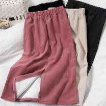 skirt Autumn 2020 Average size Purple, apricot, black, gray, pink, coffee Mid length dress Versatile High waist skirt Solid color Type H 81% (inclusive) - 90% (inclusive) corduroy