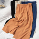 skirt Spring 2021 M, L Apricot, black, blue, orange Mid length dress Versatile High waist skirt Solid color Type H 71% (inclusive) - 80% (inclusive) other