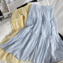 skirt Spring 2021 Average size Yellow, white, black, blue Mid length dress Versatile High waist High waist skirt Solid color Type A 18-24 years old 71% (inclusive) - 80% (inclusive) other Splicing